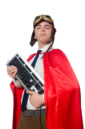 Funny hero with keyboard isolated on the white photo