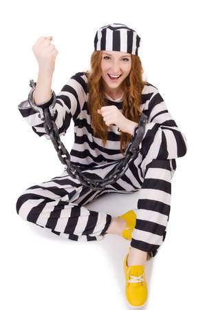 Prisoner in striped uniform on white photo
