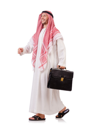 thoub: Arab businessman  with briefcase  isolated on white