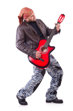 Guitar player isolated on white photo
