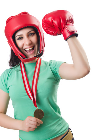 feeble: Woman boxer isolated on the white
