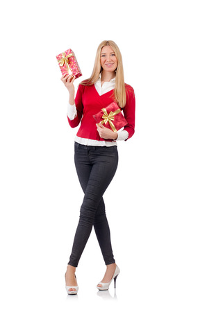 Young woman with christmas shopping on white photo