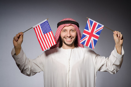 suriyah: Arab man with united kingdom flag