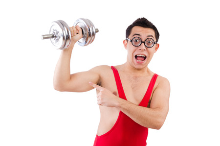 funny guy: Dr�le de type avec halt�res courtes sur fond blanc Banque d'images