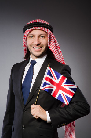kameez: Arab man with united kingdom flag