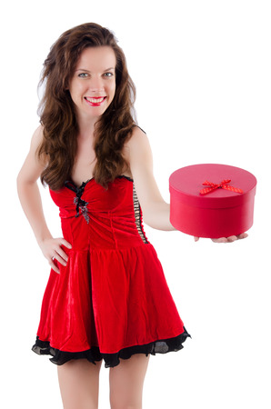 Young girl in red dress with  heart casket isolated on white Stock Photo - 29140437