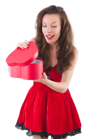 Young girl in red dress with  heart casket isolated on white Stock Photo - 29140438