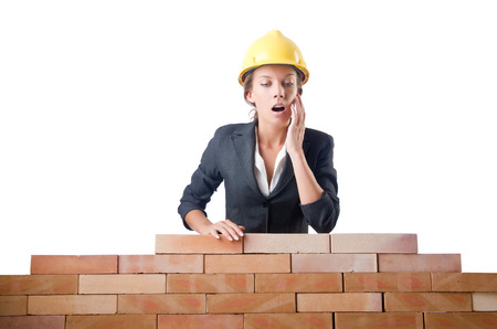 Young female builder near brick wall Stock Photo - 29140445