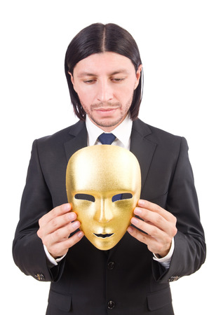 insincere: Man with mask isolated on white Stock Photo
