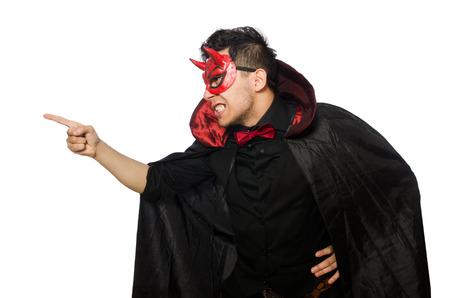 bocinas: Diablo divertido aislado en el fondo blanco Foto de archivo