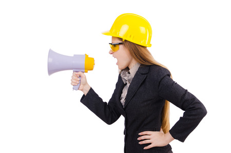 Female construction worker with loudspeaker isolated on white photo