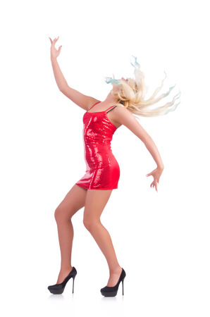 Woman dancing in red dress isolated on white Stock Photo - 29136918