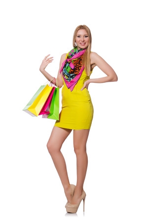 Woman after shopping isolated on the white photo