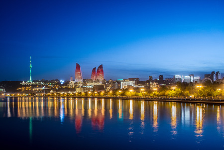 azerbaijan: Night photo of Baku Azerbaijan Stock Photo