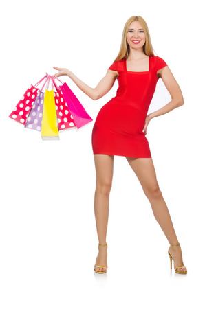 Young woman with shopping bags on white Stock Photo - 29878602