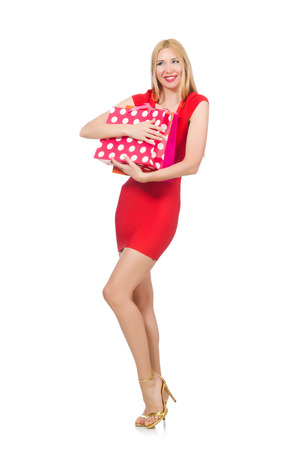 Young woman with shopping bags on white Stock Photo - 29878608