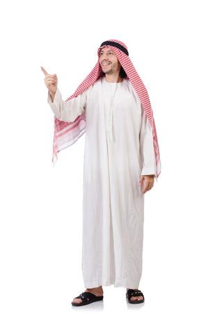 hombre arabe: Hombre árabe pulsando los botones virtuales aislados en blanco
