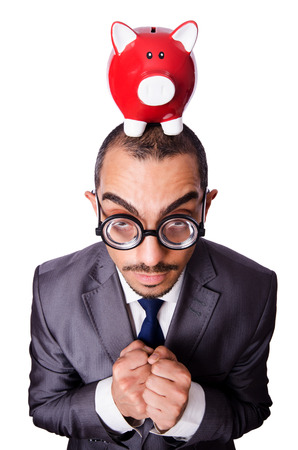 Funny man with piggybank on white photo