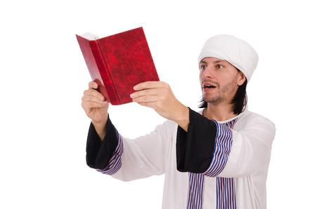 thoub: Arab man isolated on white