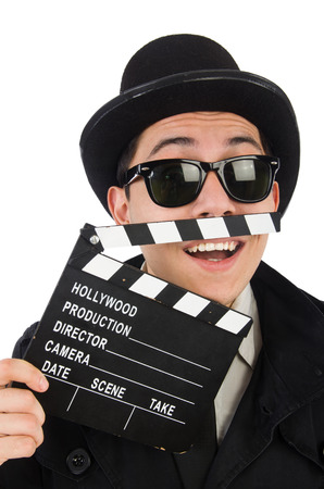 Man with movie clapper isolated on white photo