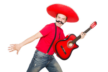 Mexican guitar player isolated on the white photo