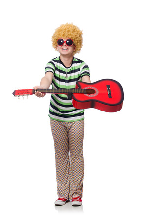 afrocut: Man with afro wig with guitar on white