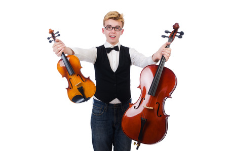 violins: Funny man with violins on white