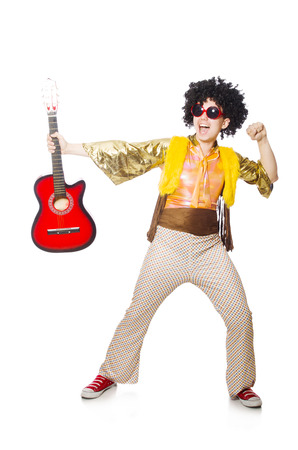 afrocut: Man with guitar isolated on white
