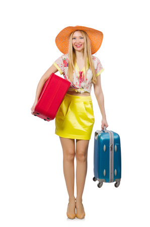 Travel vacation concept with luggage on white Stock Photo - 29878682
