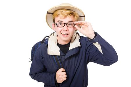 Funny student wearing safari hat photo