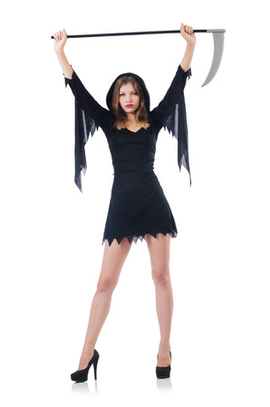 devils garden: Woman in halloween concept with scythe Stock Photo