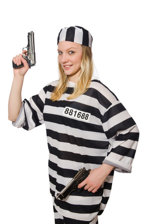inmate: Prison inmate with gun isolated on white