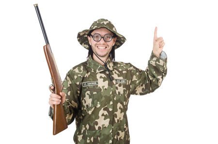 Funny soldier isolated on the white photo