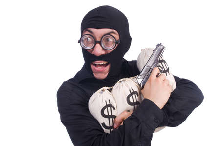 Funny criminal with gun isolated on white photo