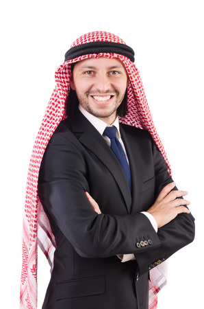 qameez: Arab man in confident concept isolated on white Stock Photo