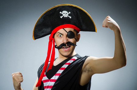 bandana: Funny pirate in the dark studio