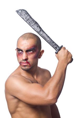 hematoma: Man with sword isolated on white Stock Photo