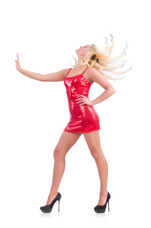 Woman dancing in red dress isolated on white Stock Photo - 29911926