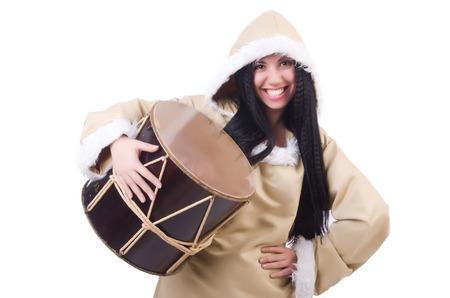 nagara: Woman eskimo isolated on white Stock Photo
