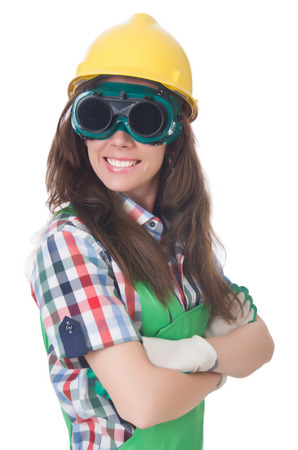 Woman wearing goggles in safety concept photo