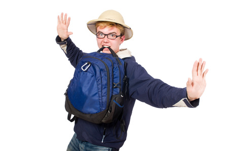 stopping: Funny student wearing safari hat