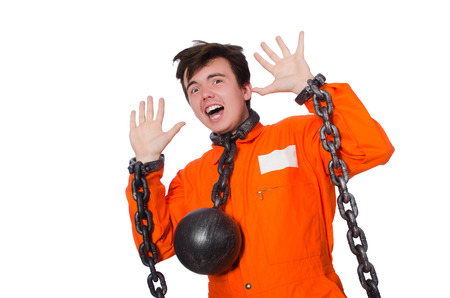 inmate: Young inmate with chains isolated on the white Stock Photo
