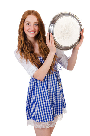 Nice attractive waitress isolated on the white photo