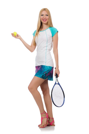 raquet: Tennis player isolated on white Stock Photo