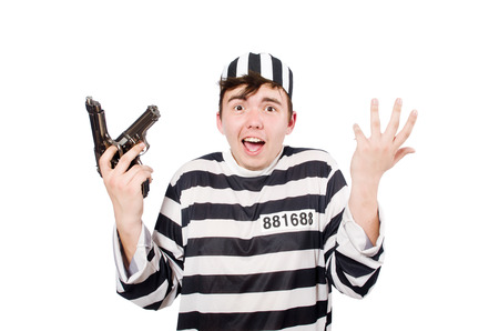 Funny prison inmate hold guns photo