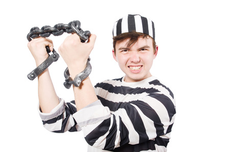 cuffs: Funny prison inmate with hand cuffs Stock Photo
