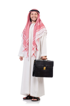 qameez: Arab businessman  with briefcase  isolated on white