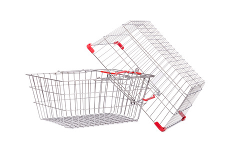 chariot supermarch�: Shopping supermarket trolley isolated on the white Banque d'images