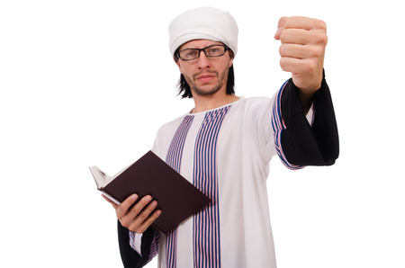 coran: Arab man isolated on white