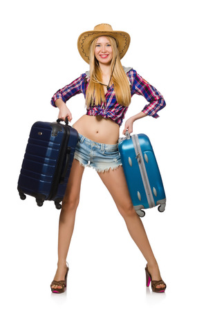 Travel vacation concept with luggage on white Stock Photo - 29996749